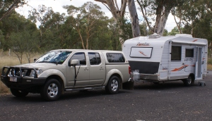 Our current tow vehicle with a previous caravan