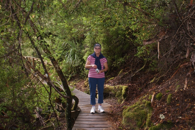 Margaret on the Boardwalk adjacent to Dove Lake