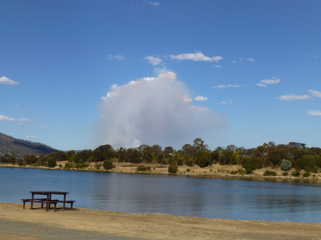 Smoke from the Fire at Risdon Vale as seen from our Camp