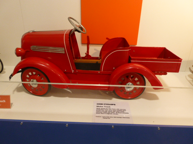 A Cyclops Pedal Car on display at the Museum