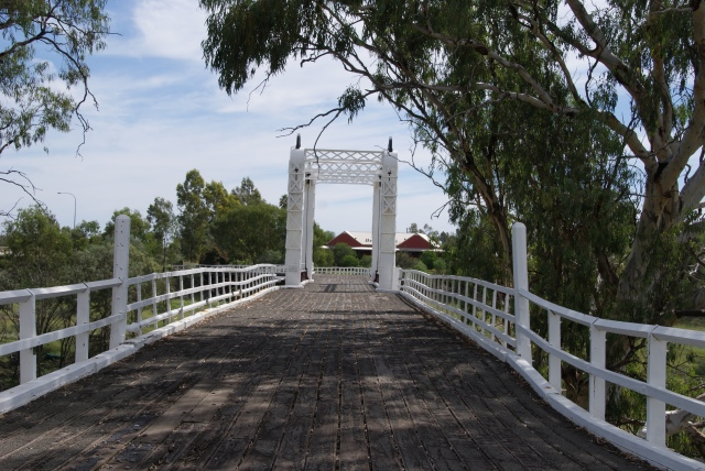 The view across the top of the old Gateway Bridge across the Darling River at  North Bourke