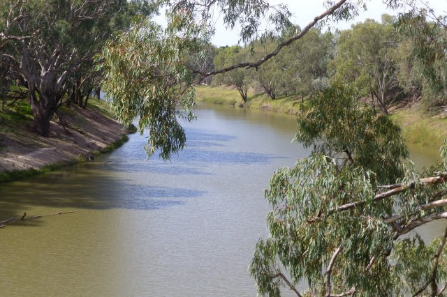 The Darling River viewed from the Wharf in Bourke