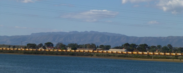View to the Finders Ranges with railway in foreground