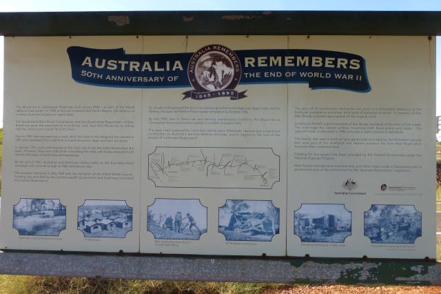 Information Board at WWII Memorial Campsite - This sign deals with the construction of the road to Camooweal during World War II