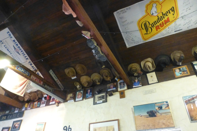 Hats on the Ceiling at the Birdsville Hotel