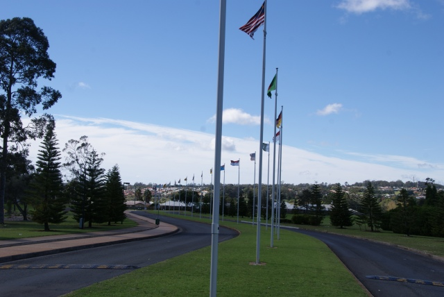 Flags at the entrance to the University of Southern Queensland