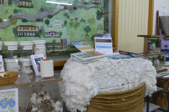 Cotton on display in the Visitor Information Centre at St George