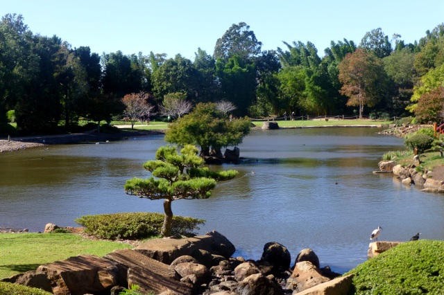 A view across the lake in the Japanese Garden