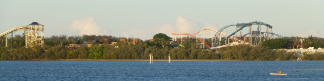 The Seaworld Theme Park lies just across the Broadwater from the Caravan Park