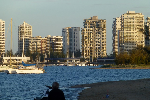 Walk down the beach near the Broadwater to highrise buildings on the Gold Coast