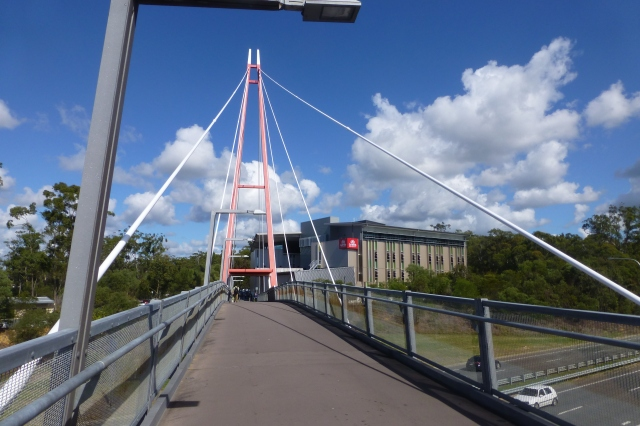 The pedestrian bridge to the International Building and student village at Griffith Gold Coast campus