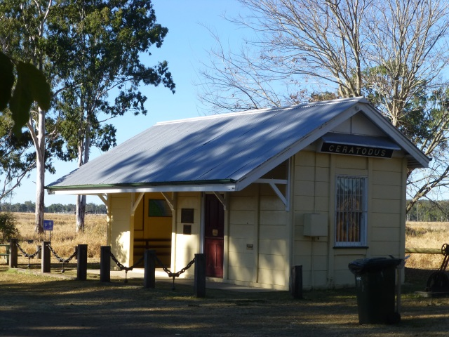 The relocated railway building at Ceratodus Rest Area