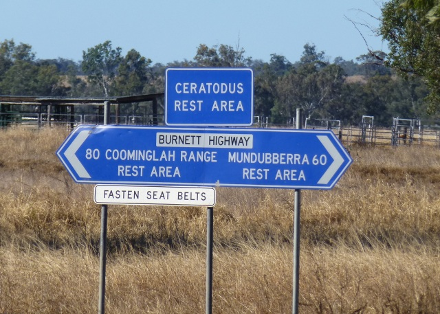Road Sign fro Ceratodus Rest Area