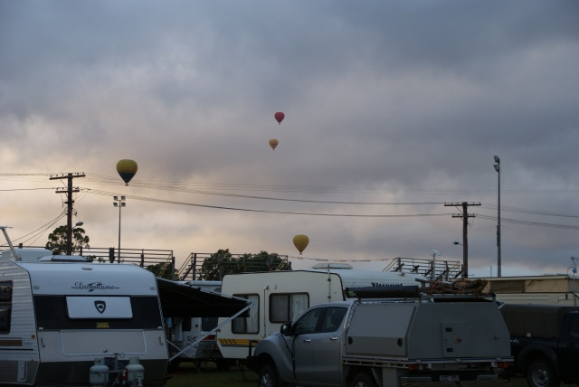 Balloons approaching the Mareeba Rodeo Grounds