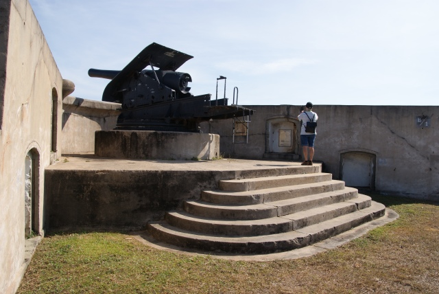 Gun guarding the channel at the old fort Thursday Island