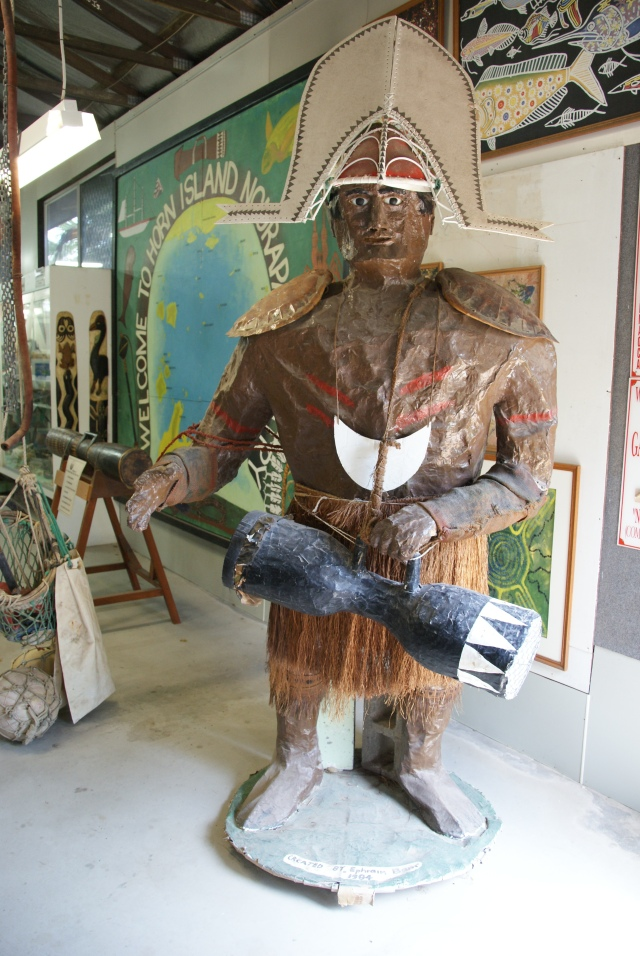 Large figure at entrance to museum on Horn Island