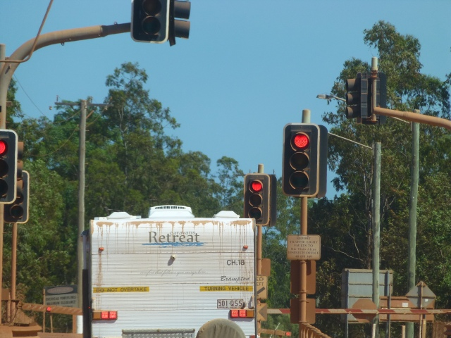 The ore truck crossing just out of Weipa - all stop here