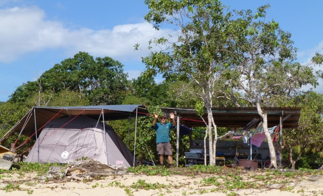 Murray at the camp at Loyalty Beach