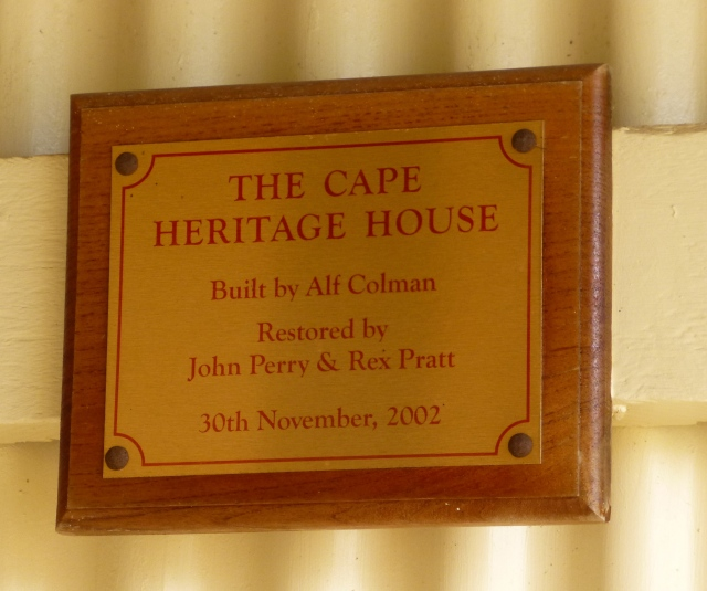 Plaque at the Heritage House