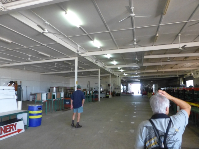 Inside the packing shed heading for the cellar door at Golden Drop winery