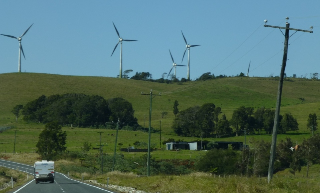 Wind turbines as we approach Atherton