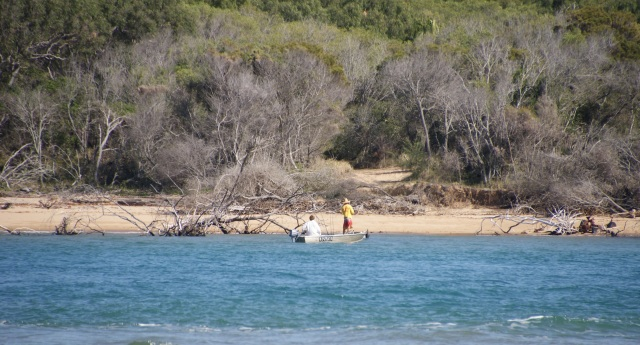 Fishing near the shore on high tide at Middle Creek