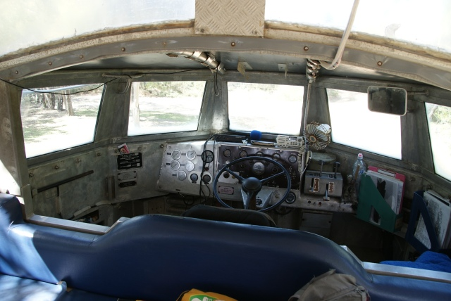 The cockpit of the LARC in which we took a tour