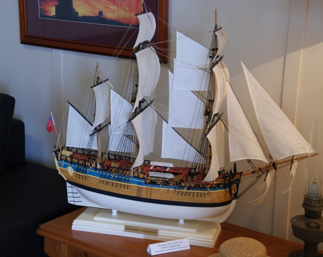A model of HMS Endeavour on display in the cottage