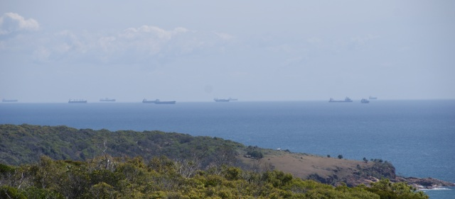 Vessels moored awaiting entry to the Port of Gladstone