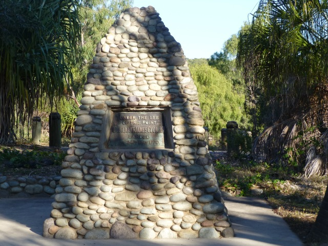 Cairn commemorating Cook's landing at Round Hill Head