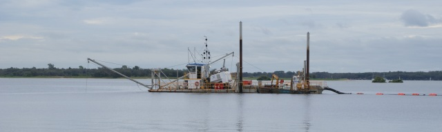 Sand pumping Dredge on the Broadwater adjacent to the park