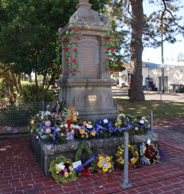 Cenotaph at Urunga after the ceremonies