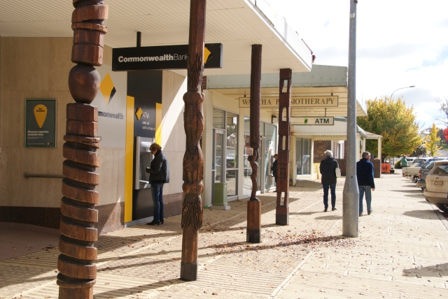 Carved awning supports in Walcha