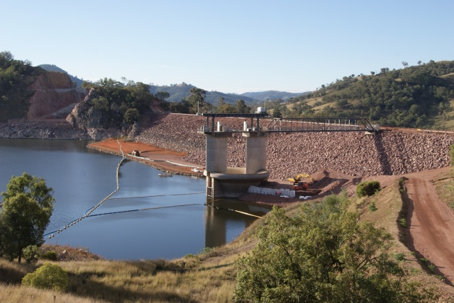 Chaffey dam wall - undergoing augmentation works