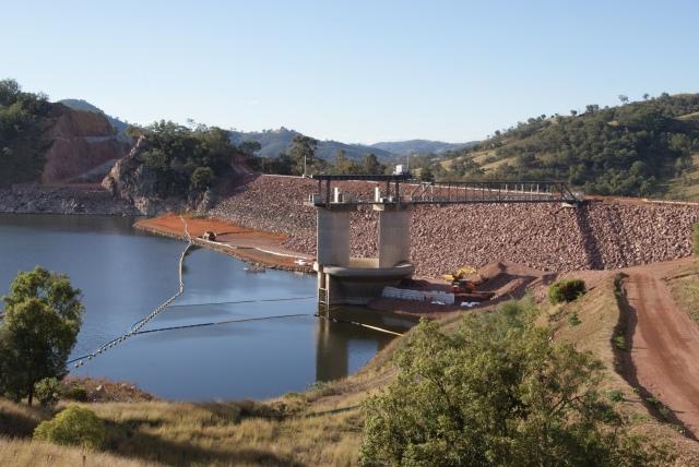 Chaffey dam wall - undergoing augmentation works