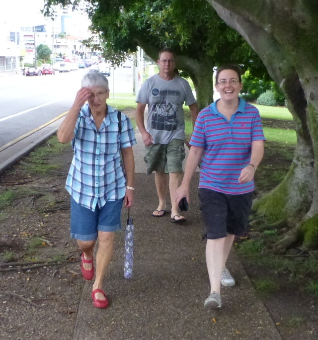 Striding out on our walk to the G Station