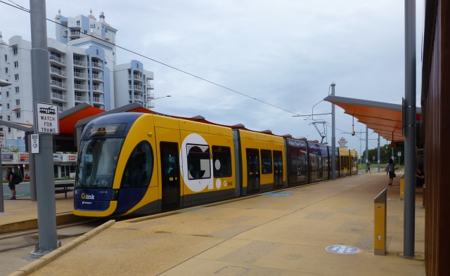 A G Link Tram at the Broadbeach South Station