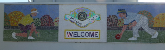 Tiled sign at the Bowling Club