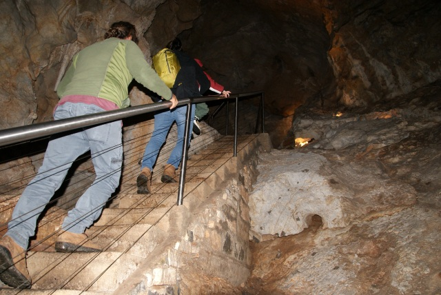 Typical of the steps up and down in Lucas Cave