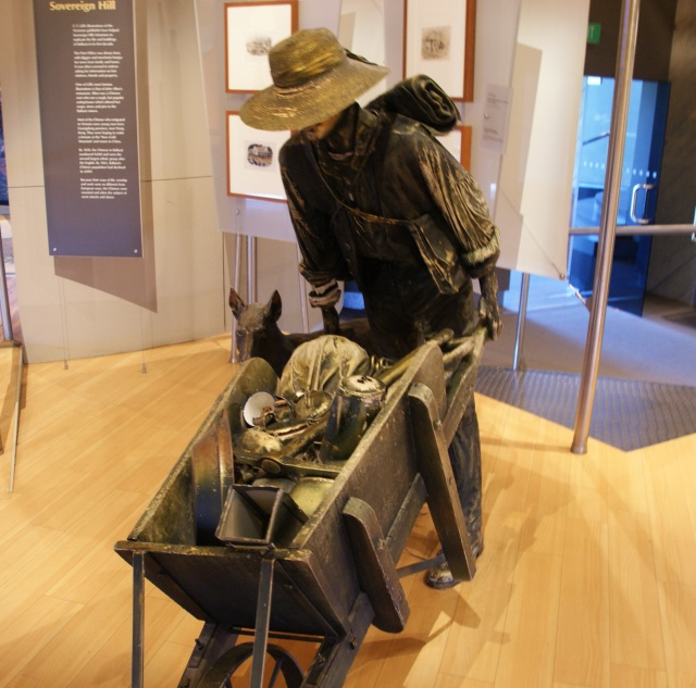 Statue of a miner traveling to the gold fields inside the Gold Museum