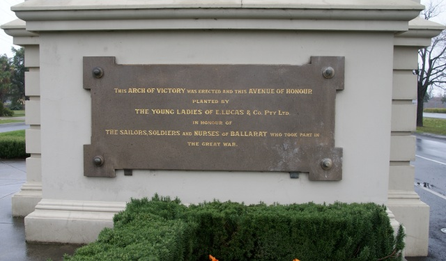 Plaque at the base of the Arch of Victory commemorating the planting of trees in the Avenue of Honour