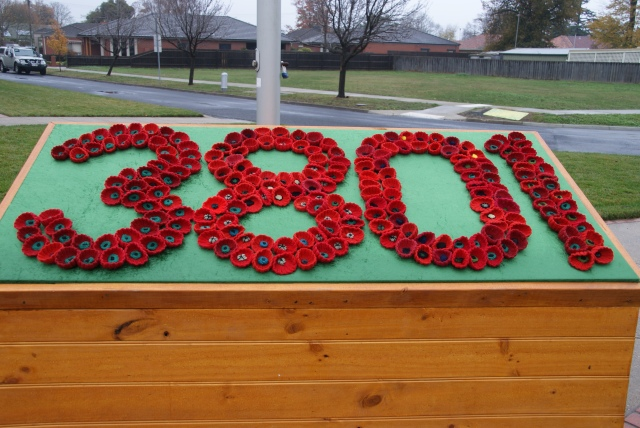 The number represents the number of trees currently in the Avenue of Honour - the poppies are hand knitted