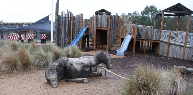 Carved wooden horse at Stockade play area at MADE