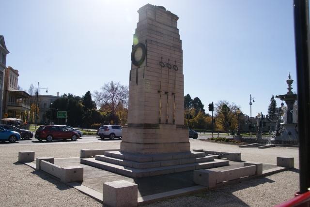 War Memorial in Bendigo viewed from the tram