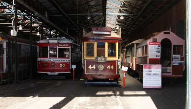 Trams in the Depot for refurbishment or maintenance