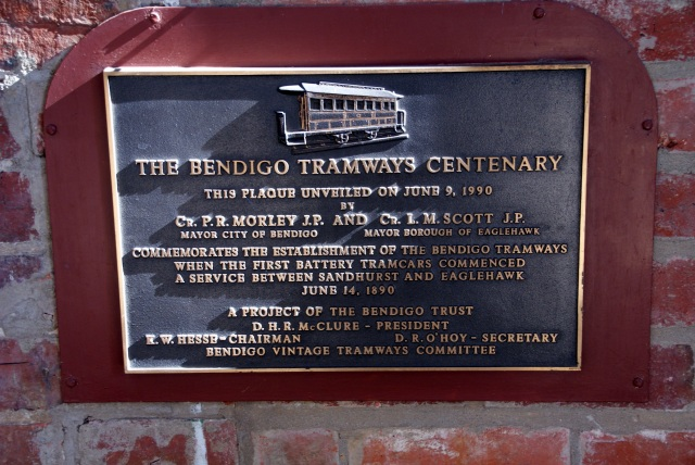 Plaque at entry to Tram Depot