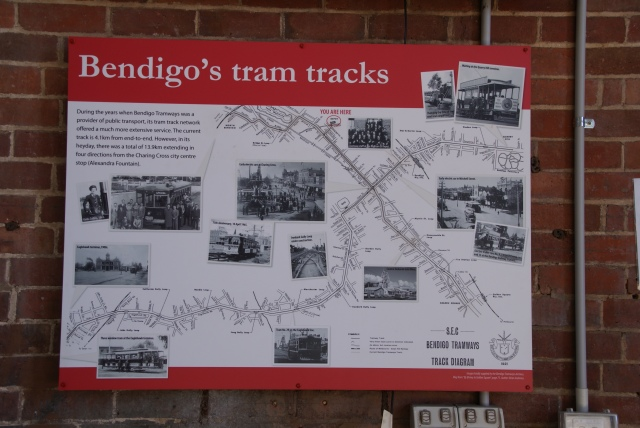 Diagram of the original tram network in Bendigo