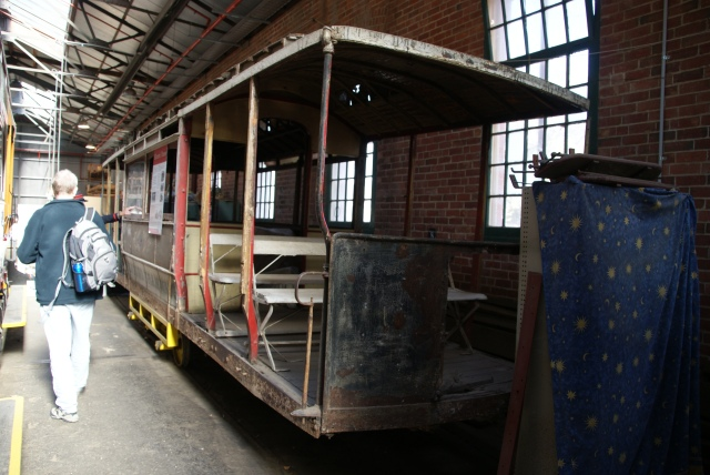 Old tram undergoing restoration work