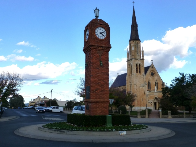 Clock Tower and Catholic Church in Mudgee