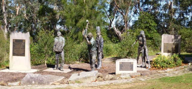 Memorial in a park at Echo Point commemorating the construction of the road to Katoomba by convict labour